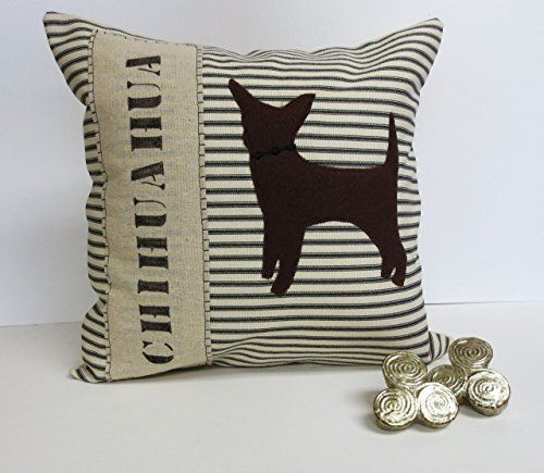 Felt Chihuahua Silhouette Decorative Pillow