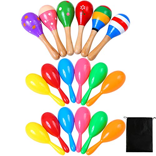 Ruisita 6 Pieces Wooden Maracas and 12 Plastic Neon Maracas Shakers Bulk Colorful Noise Maker with Drawstring Bag for Mexican Fiesta Party Favors Classroom Musical Instrument