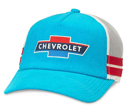 (American Needle Chevrolet Mack Corduroy Trucker Mesh Adjustable Snapback Hat Blue)
