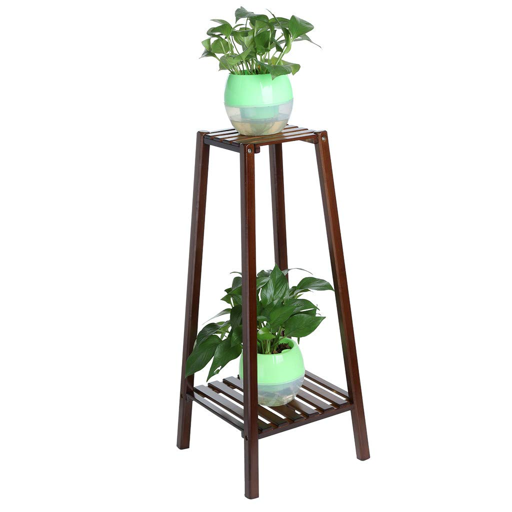 WONdere 2/3-Tier Bamboo Plant Stand Planter Rack Flower Pots Holder Disply Rack Multi-Tier Wood Plant Stand Planter Rack Flower Pots Holder Display (B)