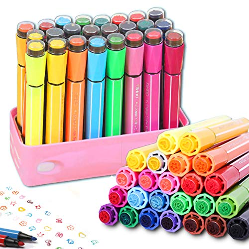 24 Colors Watercolor Marker Pens with Cute Stamp by Lasten,Color Pens for Painting Coloring Drawing Doodling Writing