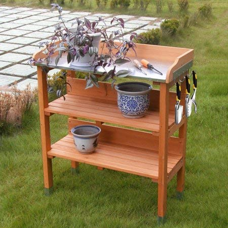 (COSTWAY Outdoor Garden Wooden Potting Bench Work Station Table Tool Storage Shelf W/Hook)