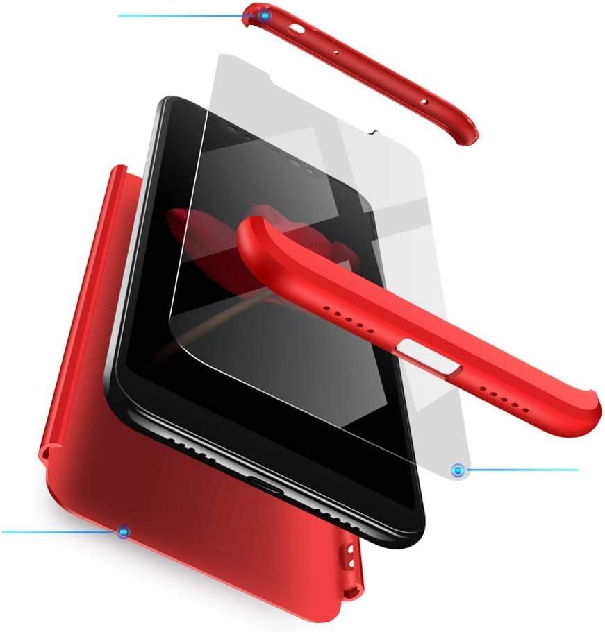 cmdkd Funda Compatible con Xiaomi Redmi Note 6 Pro,Case Bumper 3 en 1 Estructura 360 Grados Integral para Ambas Caras Hard Skin Carcasa + Cristal Templado.Rojo