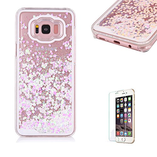 For Samsung Galaxy S8 Case [with Free Screen Protector],Funyye Flowing Liquid Bling Glitter Love Chip Design Transparent Soft TPU Crystal Clear Colourful Change Protective Back Case Cover Shell for Samsung Galaxy S8-Pink White