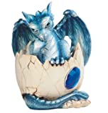 StealStreet SS-G-71466 Blue Baby Dragon Stuck in Egg with Gem Figurine, 4.5""
