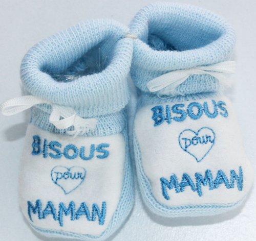 """Hausschuhe Baby bestickt """"Bisous für Mama 0/3M Blau/Weiß"""