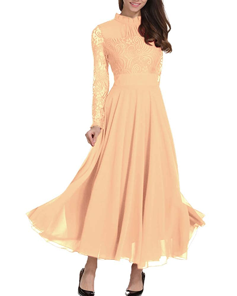 c8f0a5802f3 Amazon.com  Roiii Women s Formal Floral Lace Chiffon Long Sleeve Ruched  Neck Long Dress Evening Cocktail Party Maxi Dress  Clothing