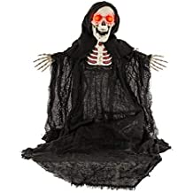 """Halloween Haunters Animated Standing 30"""" Scary Skeleton Zombie Reaper with Moving Head and Arms with Red Flashing Eyes Prop Decoration - Black, Spooky Skull Face - Haunted House, Graveyard Entryway"""