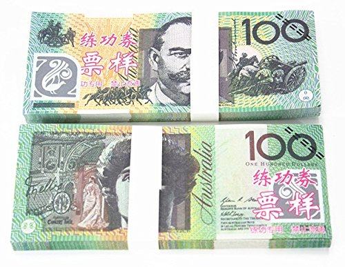 $100X100 Pcs Total $10000 Dollar Australian AUD Currency Props Money Bills Real Looking New Style Copy Double-Sided Printing - for Movie, TV, Videos, Advertising & Novelty