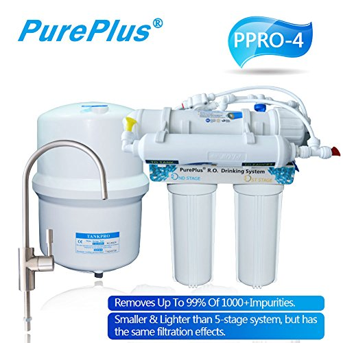 PurePlus 4 Stage Under Sink Reverse Osmosis Drinking Water Filtration System 80 GPD RO Membrane Filter Ultra Safe Residential Home Drinking Water Purification by PurePlus