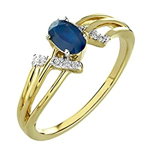 0.46 Ct. 14K Yellow Gold Natural White Diamond & Blue Sapphire Engagement Ring For Women