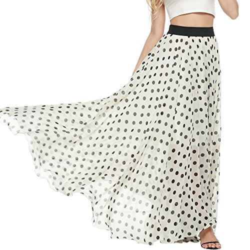 (Meaneor Women's Floor Length Polka Dot Print Elegent Chiffon Maxi Skirt (Black White,L) )