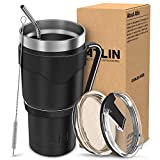 #1: Atlin Tumbler [30 oz. Double Wall Stainless Steel Vacuum Insulation] - Black Travel Mug [Crystal Clear Lid] Water Coffee Cup [Straw + Handle Included]For Home, Office, School, Ice Drink, Hot Beverage