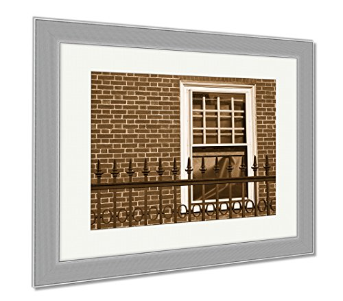 Ashley Framed Prints Harvard University In Cambridge Massachusetts USA, Wall Art Home Decoration, Sepia, 34x40 (frame size), Silver Frame, - Framing Ma Cambridge