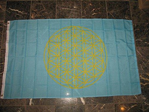Brass Flower Light (3x5 Flower of Life Light Blue Rough Tex Knitted flag 3'x5' Brass)