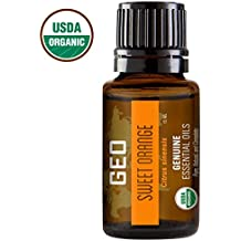 SWEET ORANGE Organic Essential Oil | Uplifts Mood, Revitalizes, Provides Energy | 15 ml | USDA Organic. Certified by CCOF | Sold by GEO Essential Oils