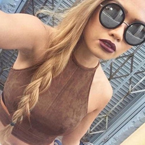 Transer® Mujeres Boho Camisetas sin mangas Bustier Bra Chaleco Top Crop Camisa Bralette Blusa Cami Marrón