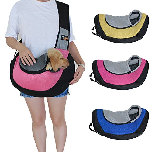 Ondoing Small Dog Cat Sling Carrier Bag Travel Tote Soft Comfortable Puppy Kitty Rabbit Shoulder Carry Tote Handbag, Pink