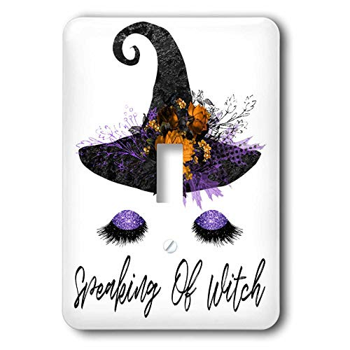 3dRose Anne Marie Baugh - Halloween - Halloween Speaking Of Witch With A Glamour Witch Face and Hat Design - Light Switch Covers - single toggle switch (lsp_289291_1)