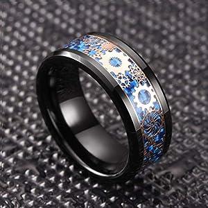 THREE KEYS 6mm 8mm Steampunk Gear Wheel Blue Carbon Fiber Black Tungsten Wedding Ring