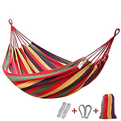 """Dear-Queen Brazilian Double Hammock - Two Person Bed for Backyard, Porch, Outdoor and Indoor Use - Soft Woven Cotton Fabric for Supreme Comfort - TWO PERSON HAMMOCK - The bed resting area is 78.1 inches long X 59.1 inches wide, it is perfect for couples. This double Hammock's dimensions may seem smaller at first, so please allow for 1-2 weeks of use for """"stretching"""" CHILD, FAMILY & PET FRIENDLY - Not all Hammocks are child & pet friendly. This one is. The solid fabric bed ensures safety for children & pets while being absorbent enough to take their abuse PORTABLE HAMMOCK - Our Hammock comes with a free carry bag for easy transportation. Leave it in in the backyard, bring it to the cottage & hang it on the porch, take it camping or use it anywhere indoor / outdoor, the choice is yours - patio-furniture, patio, hammocks - 51MjWiE4dCL. SS400  -"""