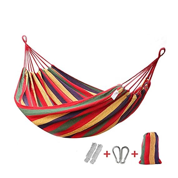 "Dear-Queen Brazilian Double Hammock - Two Person Bed for Backyard, Porch, Outdoor and Indoor Use - Soft Woven Cotton Fabric for Supreme Comfort - TWO PERSON HAMMOCK - The bed resting area is 78.1 inches long X 59.1 inches wide, it is perfect for couples. This double Hammock's dimensions may seem smaller at first, so please allow for 1-2 weeks of use for ""stretching"" CHILD, FAMILY & PET FRIENDLY - Not all Hammocks are child & pet friendly. This one is. The solid fabric bed ensures safety for children & pets while being absorbent enough to take their abuse PORTABLE HAMMOCK - Our Hammock comes with a free carry bag for easy transportation. Leave it in in the backyard, bring it to the cottage & hang it on the porch, take it camping or use it anywhere indoor / outdoor, the choice is yours - patio-furniture, patio, hammocks - 51MjWiE4dCL. SS570  -"