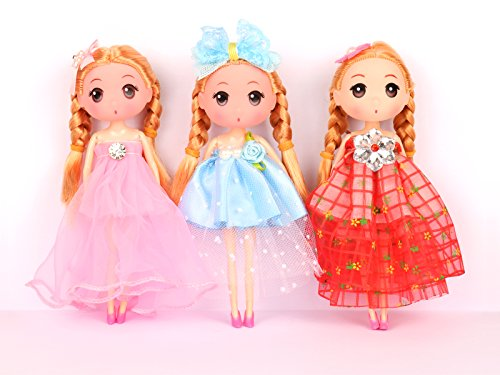 Asian Princess Barbie Costumes (Girl Dolls 7 inch (3 pcs) for Dollhouses or Adornment)