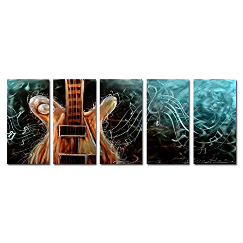 Yihui Arts Metal Wall Art - Abstract Guitar Metallic Wall Art -