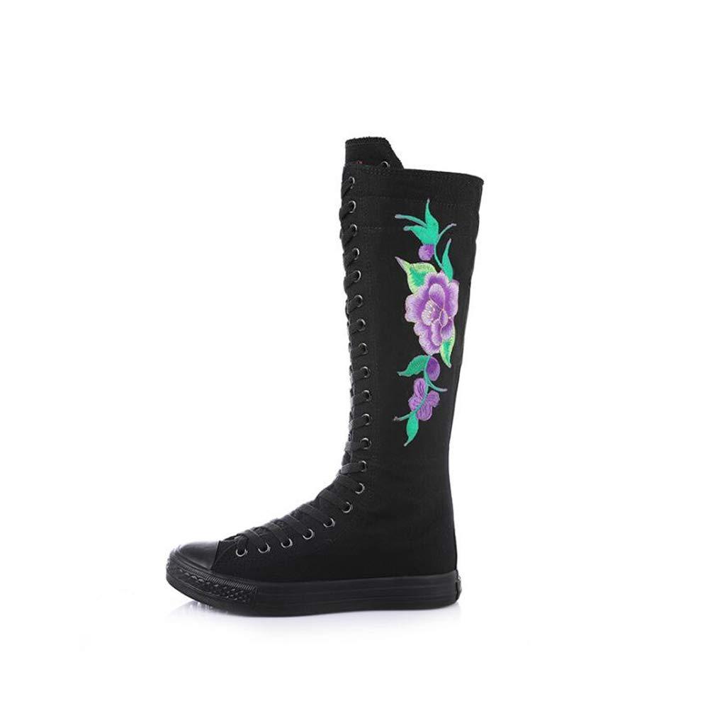 mogeek Femme Haut de Bottes de B078MFPN38 Confortable Toile Confortable Chaussures à Lacets brodées Noir Violet 13cf3e6 - latesttechnology.space
