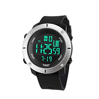 Amazon.com: Sport Watches for Men Waterproof Digital Watches LED Sport Wrist Watches 5ATM Water Resistant Outdoor Watch Military Quartz Watchs with Rubber ...