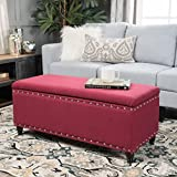 Christopher Knight Home 300240 Living Envy Deep Red Fabric Storage Ottoman Review
