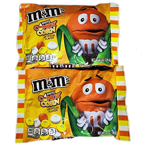 M&M's White Chocolate Candies! White Chocolate Candy Corn Flavor 8 Oz Pack Of 2 ! Delicious Crunchy Chocolate Candy! Perfect For Halloween Candy ()