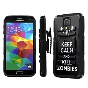 NakedShield Samsung Galaxy S5 S 5 (Keep Calm and Kill Zombies) Combat Tough Holster KickStand Armor Phone Case