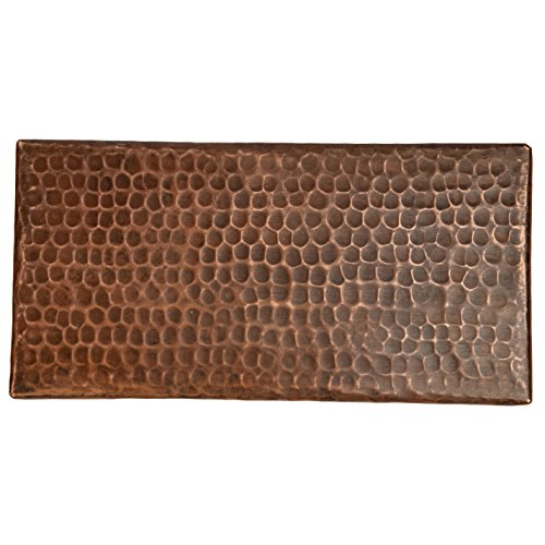 (Premier Copper Products T48DBH_PKG4 4-Inch by 8-Inch Hammered Copper Tile - Quantity 4, Oil Rubbed Bronze)