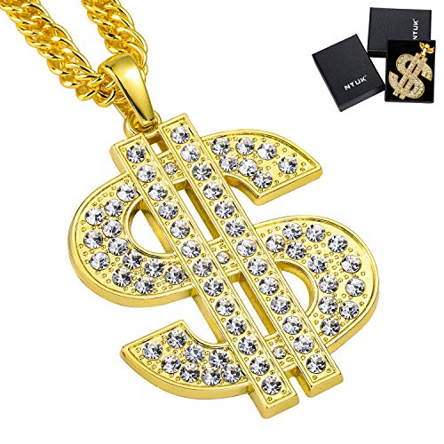 NYUK Gold Chain for Men with Dollar Sign Pendant Necklace]()