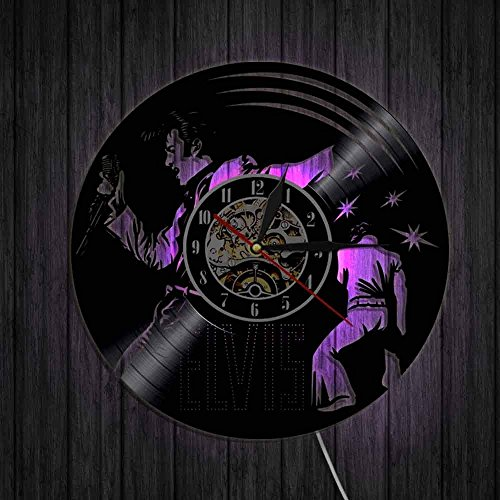 - Elvis Presley Silhouette Art Clock Vinyl Record Wall Clock With LED Light Creative Room Decor Unique Gifts RGB