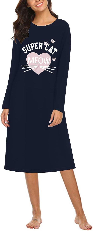 SUNNYME stampa a gatto morbida Camicia da notte da donna per la casa a maniche lunghe