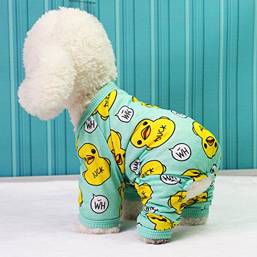 Zehui Cute Duck Printing Pet Velvet Pajamas Coat Warm Nightwear Clothes for Dogs Cats (Dog Zehui Pet)
