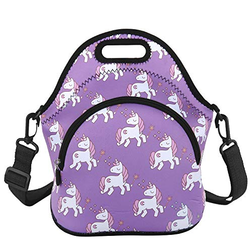 Cute Unicorn Lunch Bag Purple Lunch Tote with Zipper Pocket and Adjustable Detachable Strap Waterproof Insulation Foldable Bag Shoulder Bags Purple