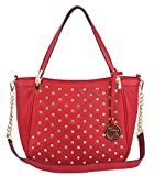 Rosemarie Collections Women's Summer Special Red Faux Leather Studded Handbag Tote Bag