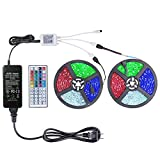 WenTop Led Strip Lights Kit 65.5ft(20M) 5050 SMD RGB Flexible LED Tape Lights Non-Waterproof with DC24V UL Power Supply 44Key IR Remote Controller for Under Cabinet Lighting£¬Bedroom, Living Room