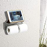 CRW Double Toilet Paper Holder with Shelf Stainless