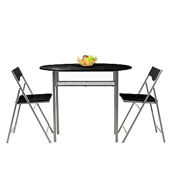 Fanilife Tisch Und Stühle Set Zusammenklappbar Set Von 3 Pcs Küche Metall  Rahmen Esstisch Und Stühle