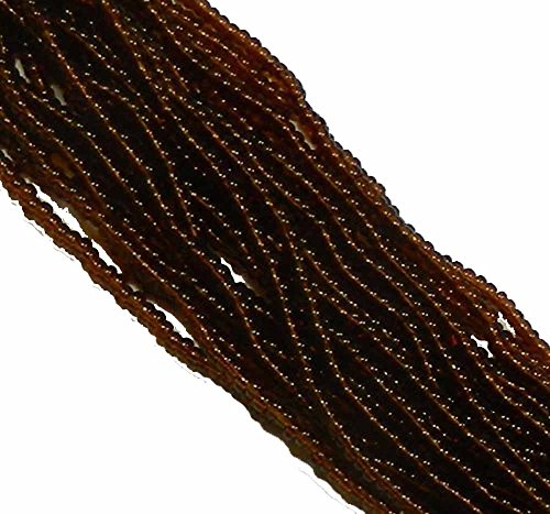 Dark Topaz Transparent Czech 8/0 Glass Seed Beads 1 Full 12 Strand Hank Preciosa Jablonex Brown Glass Seed Beads