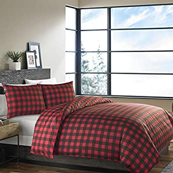 Image of Home and Kitchen 3 Piece Cozy Black Red Full Queen Duvet Cover Set, Plaid Themed Reversible Bedding Tartan Mountain Soft Winter Lodge Cabin Cottage Modern Chic Classic Casual Stylish Wildlife, Cotton, Percale Cotton