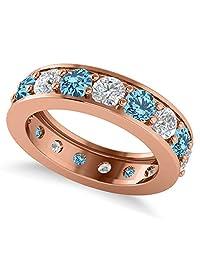14k Gold Diamond and Blue Topaz Eternity Channel Wedding Band