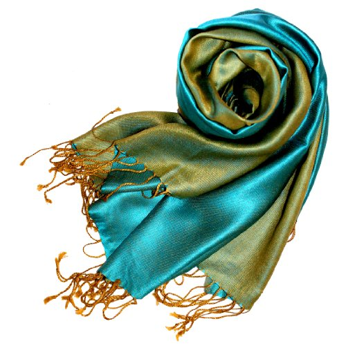 LORENZO CANA - Italian Luxury Silk Scarf Pashmina Turquoise Blue 29 x 75 inches 78060