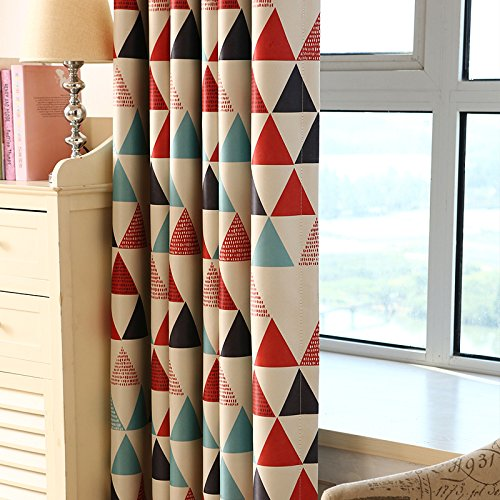 Befaith Triangle Blockout Window Curtain Thicken Fabric Kids Curtain Eyelet Red blockout eyelet