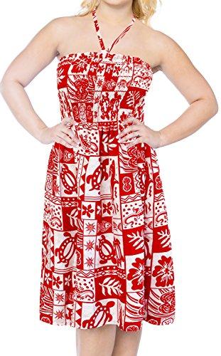 La Leela Likre Printed Womens Beach wear Cover up Maxi tube Halter Dresses top caribbean short Office Red