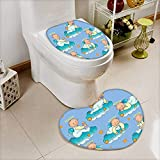 L-QN Lid Toilet Cover Baptism Sitting Sleeping Crawling Smiling Babies On Clouds Catholic Children Party Cushion Non-Slip